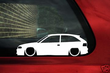 2x LOW Vauxhall / Opel Astra mk3 F ,GSi, 3 door, outline, silhouette stickers,Decals